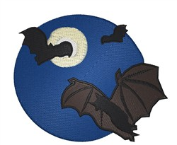 Bats with Moon embroidery design