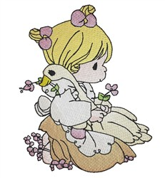 Girl Holding Goose embroidery design