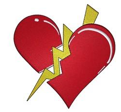 Lightening Bolt Heart embroidery design