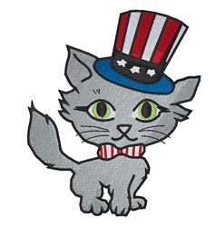 Patriotic Kitty embroidery design
