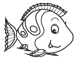 Cute Fish Outline embroidery design