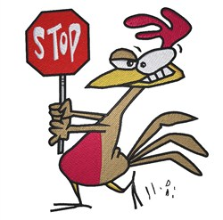 Rooster With Stop Sign embroidery design