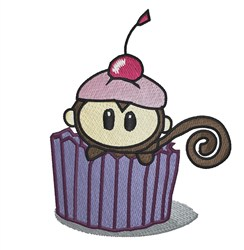 Monkey Cupcake embroidery design