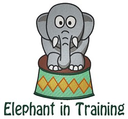 Elephant In Training embroidery design