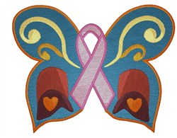 Pink Ribbon Butterfly embroidery design
