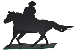 Horseback Silhouette embroidery design