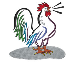 Rooster Crowing embroidery design