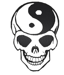 Ying Yang Skull embroidery design
