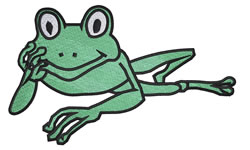 Reclining Frog embroidery design