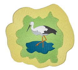 Stork in Pond embroidery design