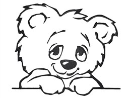 Cute Teddy Outline embroidery design