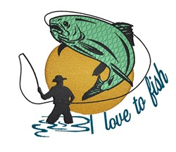 Love To Fish embroidery design