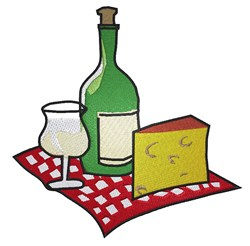 Wine and Cheese embroidery design