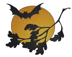Bats And Moon embroidery design