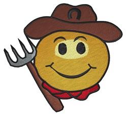 Farmer Smiley Face embroidery design