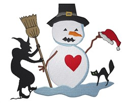 Seasonal Snowman embroidery design