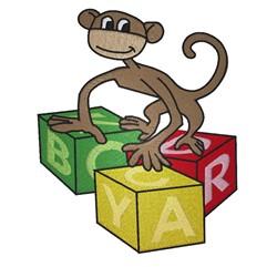 Monkey On Blocks embroidery design
