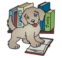 Puppy On Books embroidery design