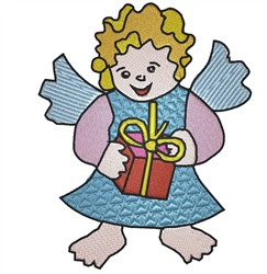 Angel With Present embroidery design