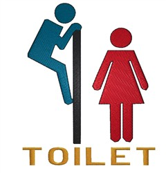 Toilet Sign embroidery design