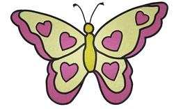 Butterfly With Hearts embroidery design