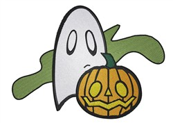 Pumpkin And Ghost embroidery design