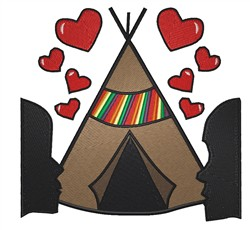 Teepee With Hearts embroidery design