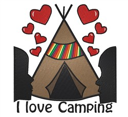 I Love Camping embroidery design