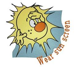 Wear SunScreen embroidery design
