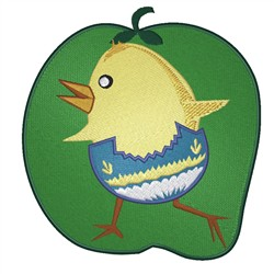Chick On Apple embroidery design