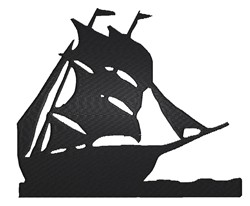 Sailing Boat Silhouette embroidery design