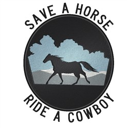 Save A Horse embroidery design
