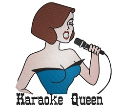 Karaoke Queen embroidery design