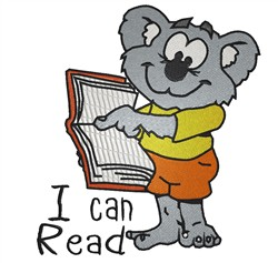 Koala Bear Reads embroidery design