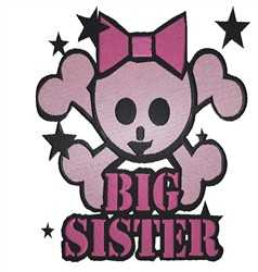 Big Sister Skull embroidery design