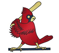 Cardinal With Bat embroidery design