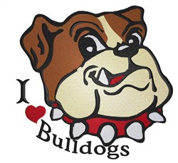 I Love Bulldogs embroidery design