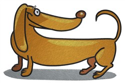 Cartoon Dachshund embroidery design