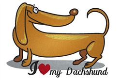 Love My Dachshund embroidery design