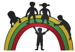 Children On Rainbow embroidery design