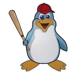 Penguin Baseball embroidery design