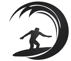 Surfer Silhouette embroidery design