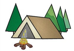 Tent With Campfire embroidery design