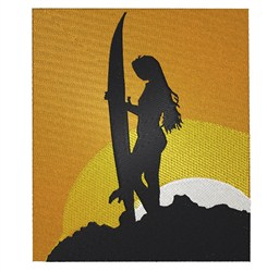 Surfer Girl embroidery design