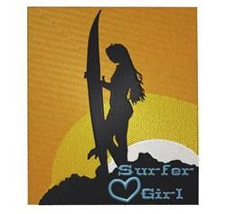 Sunset Surfer Girl embroidery design
