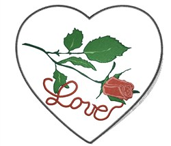 Rose Love Heart embroidery design