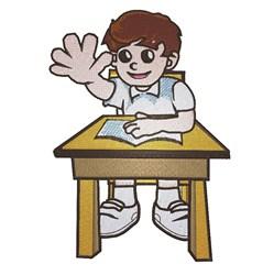 Boy In School embroidery design