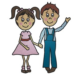 Boy & Girl embroidery design