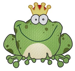 Frog Wearing Crown embroidery design