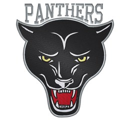 Outlined Panthers Head embroidery design